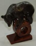 Статуэтка, фигура «Цирковой медведь» керамика, «ЗИК» СССР №7281
